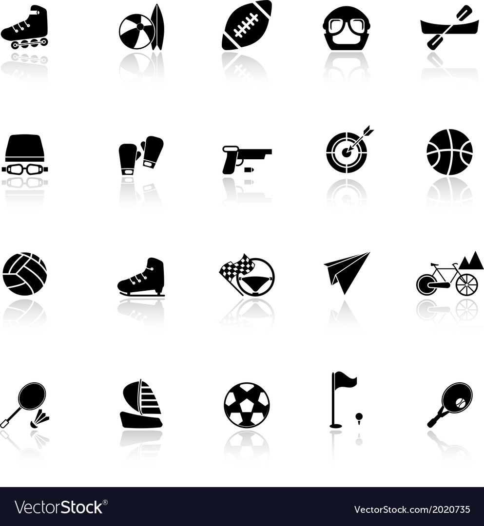 Extreme sport icons with reflect on white vector | Price: 1 Credit (USD $1)