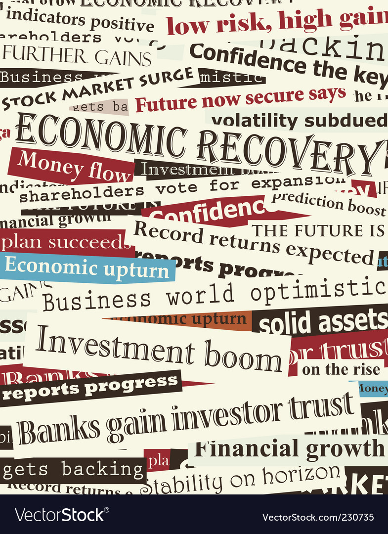 Financial recovery headlines vector | Price: 1 Credit (USD $1)