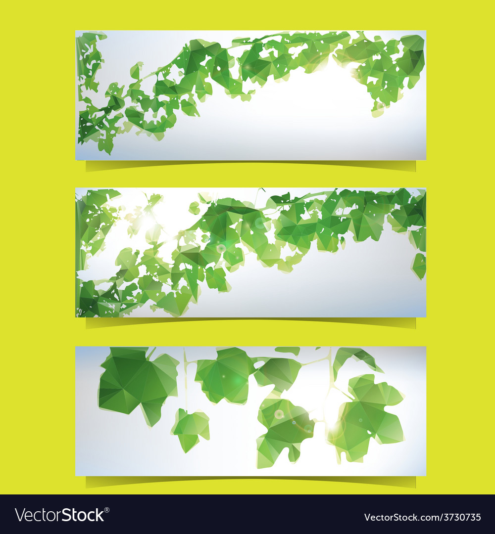 Foliage banner set vector | Price: 1 Credit (USD $1)