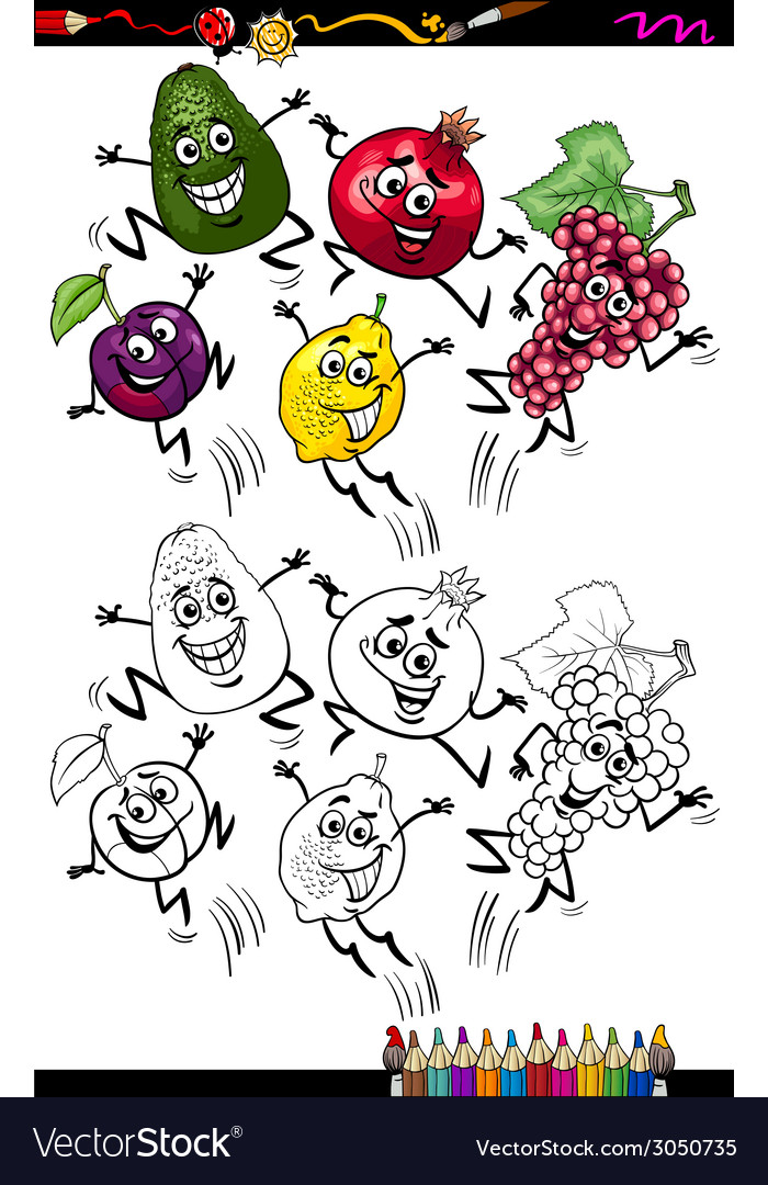 Funny fruits cartoon coloring page vector | Price: 1 Credit (USD $1)