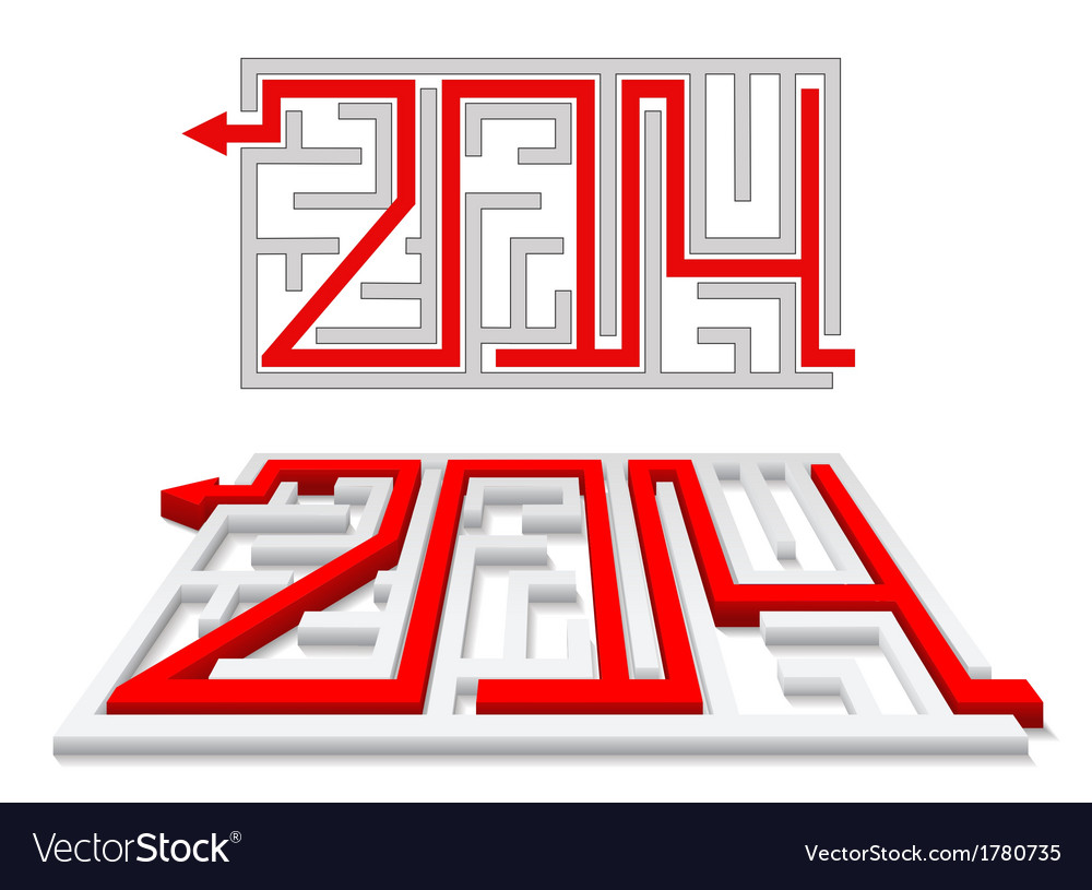 Red arrow in the labyrinth as a number 2014 vector | Price: 1 Credit (USD $1)