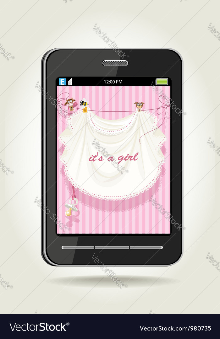 Smartphone with baby girl pink openwork vector | Price: 3 Credit (USD $3)
