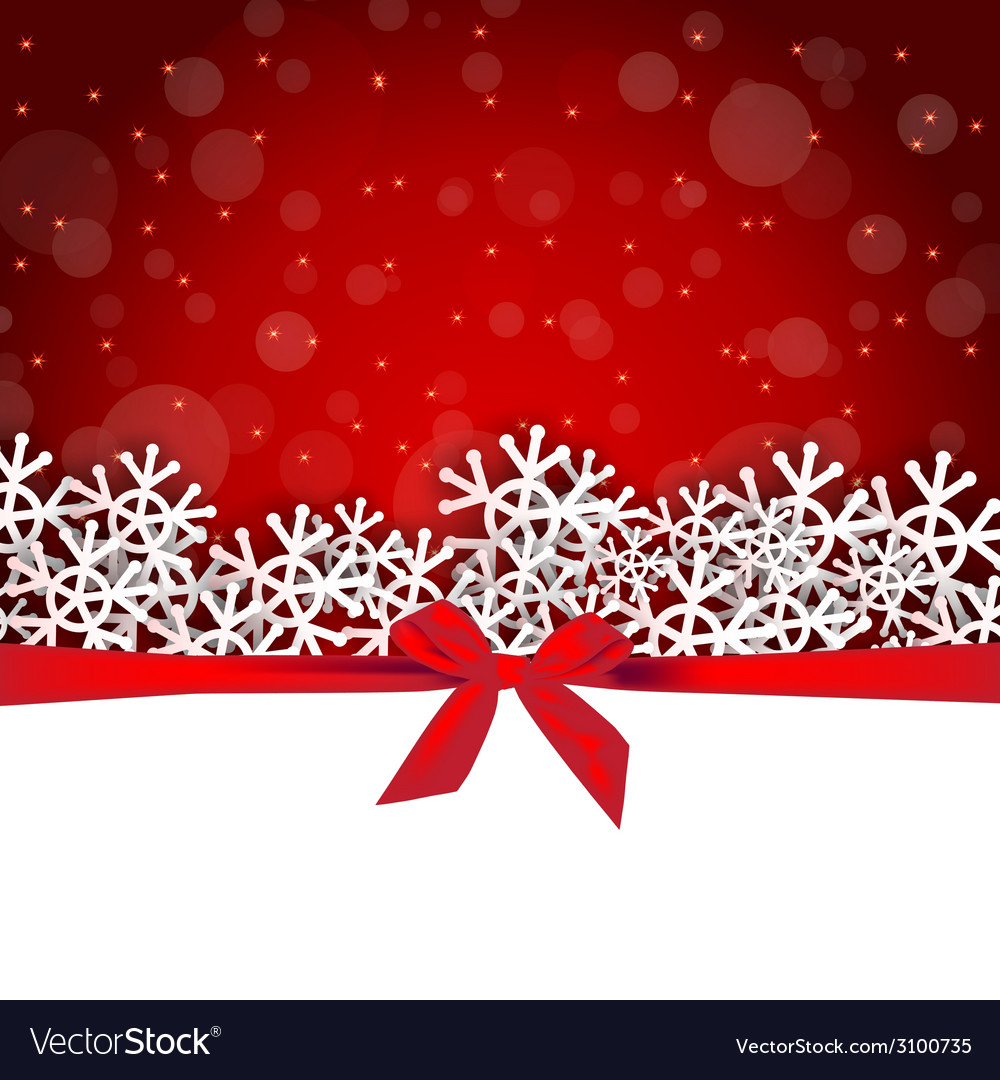 Snowflakes shape with bow ribbon gift card vector | Price: 1 Credit (USD $1)