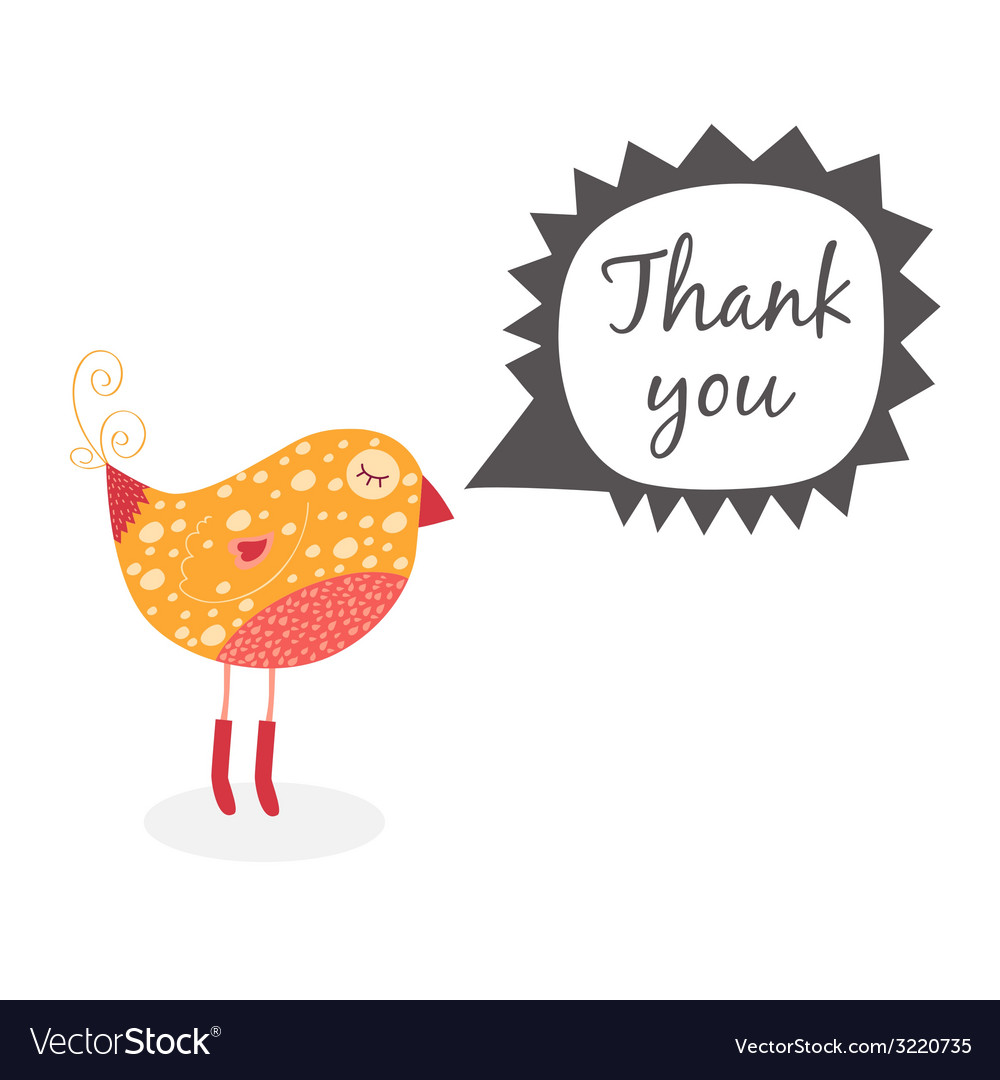 Thank you card with birds vector | Price: 1 Credit (USD $1)