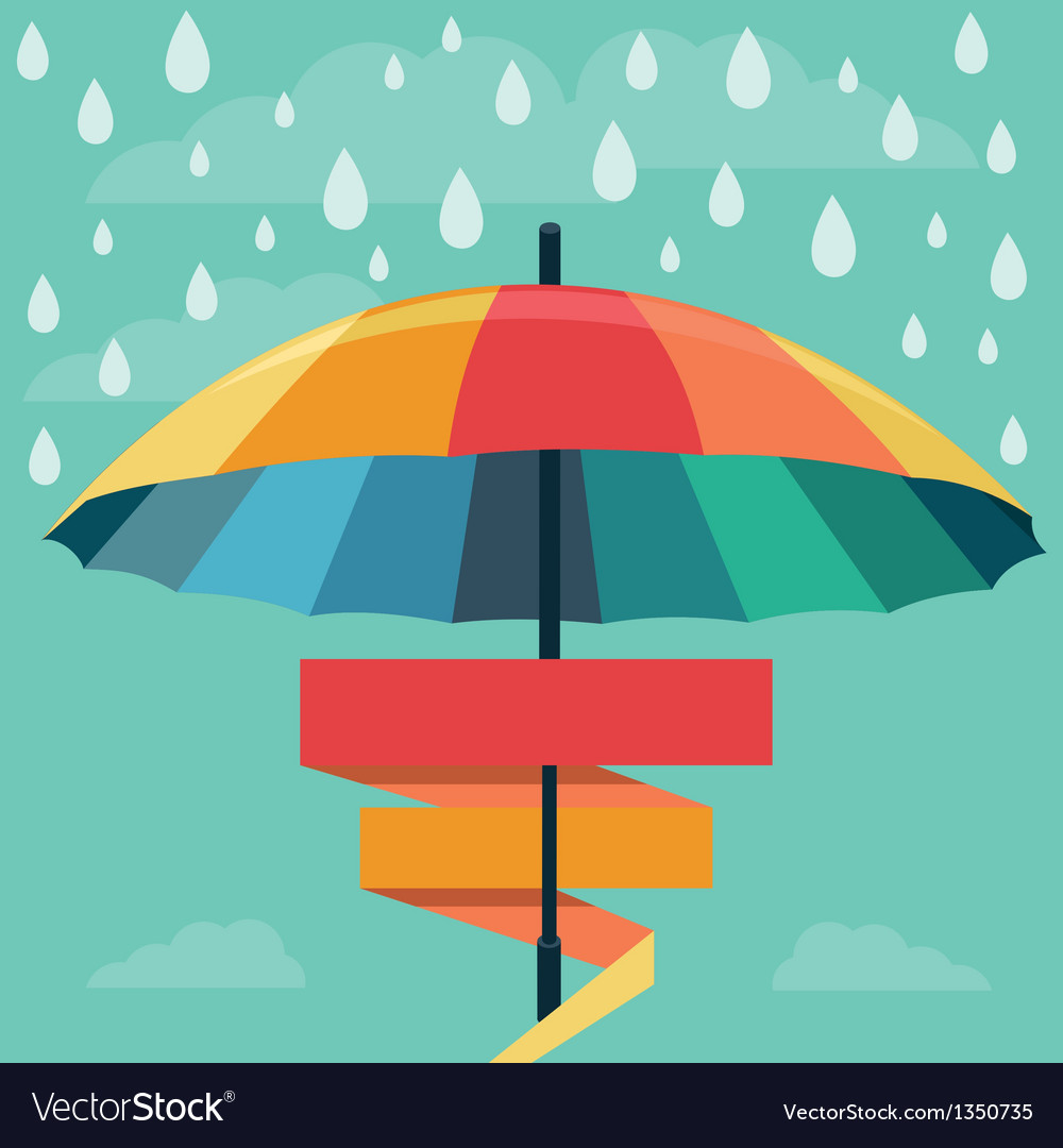 Umbrella and rain drops in rainbow colors vector | Price: 1 Credit (USD $1)
