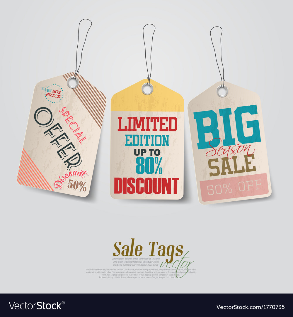 Vintage pricing tags vector