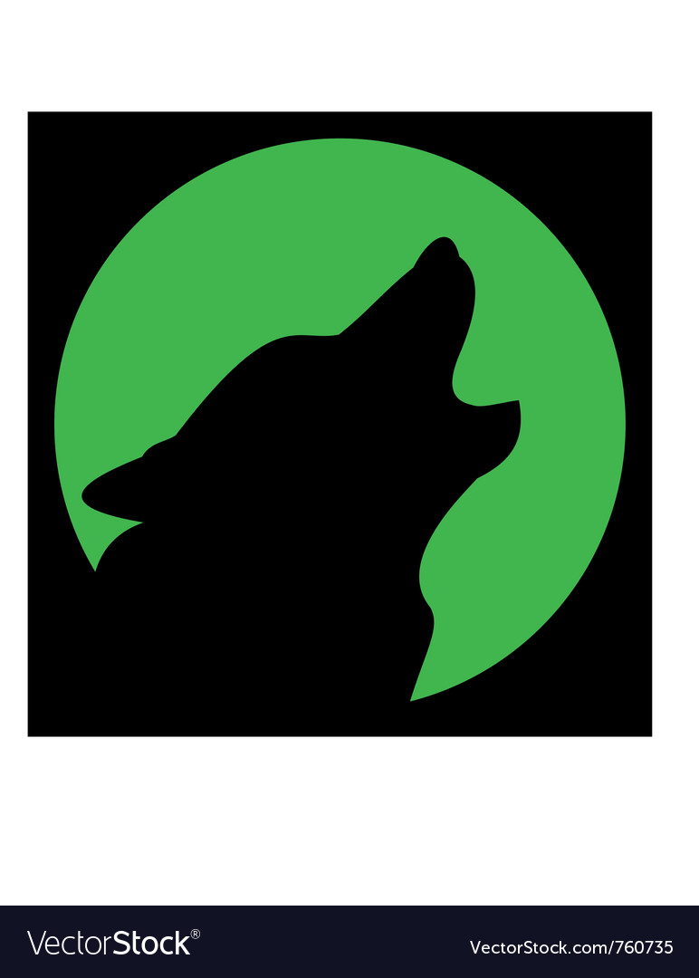 Wolf and moon silhouette vector | Price: 1 Credit (USD $1)