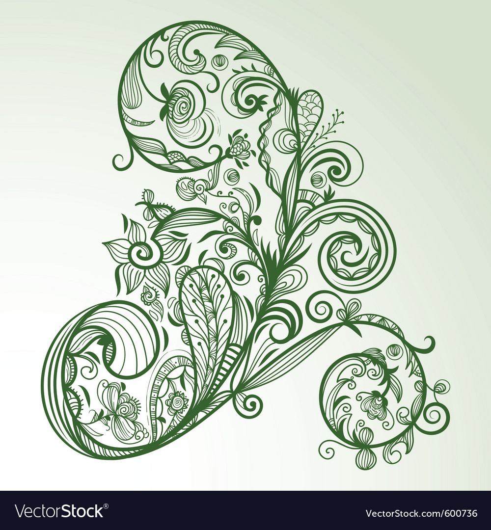 Abstract hand drawn floral design element vector | Price: 1 Credit (USD $1)