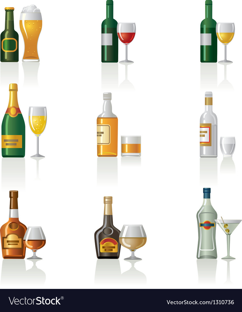 Alcohol icon set vector | Price: 3 Credit (USD $3)