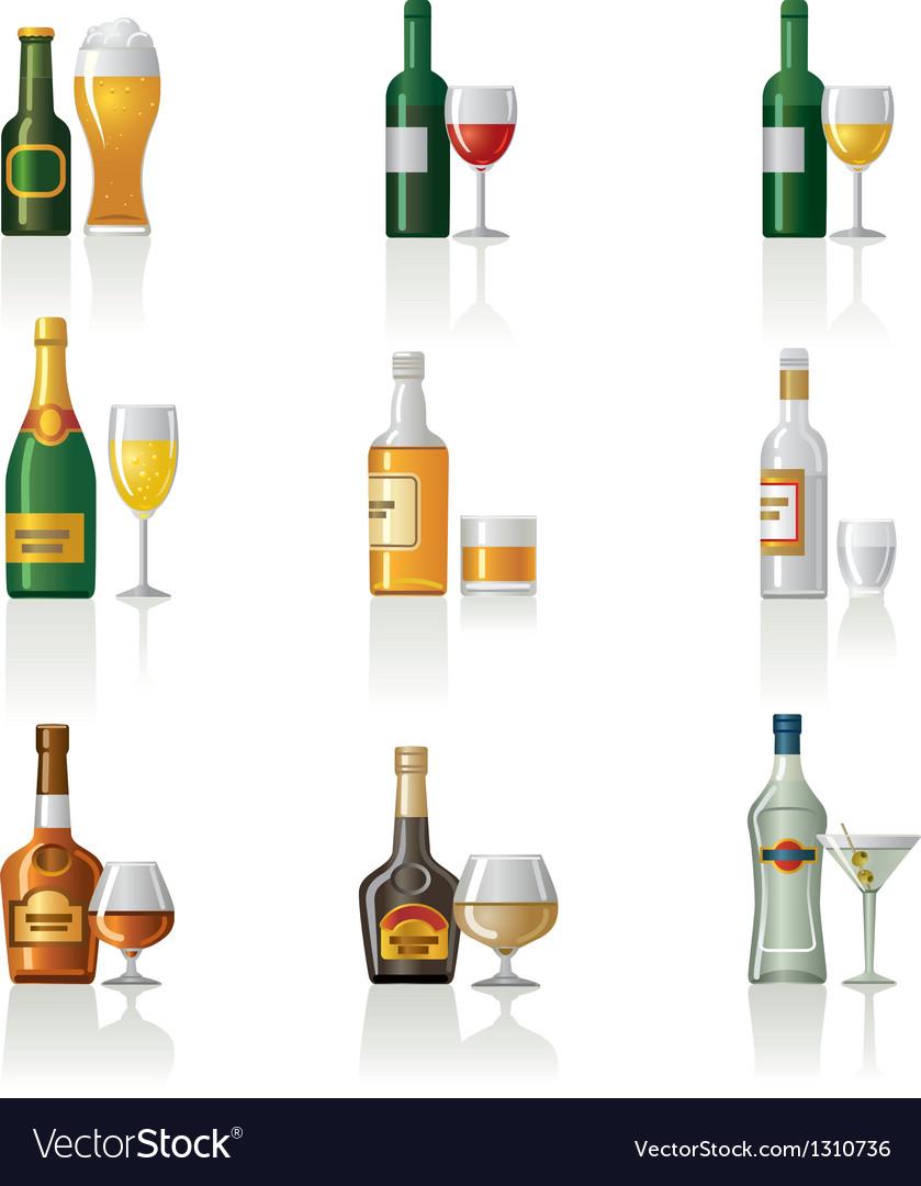Alcohol icon set vector | Price: 3 Credit (USD $3)
