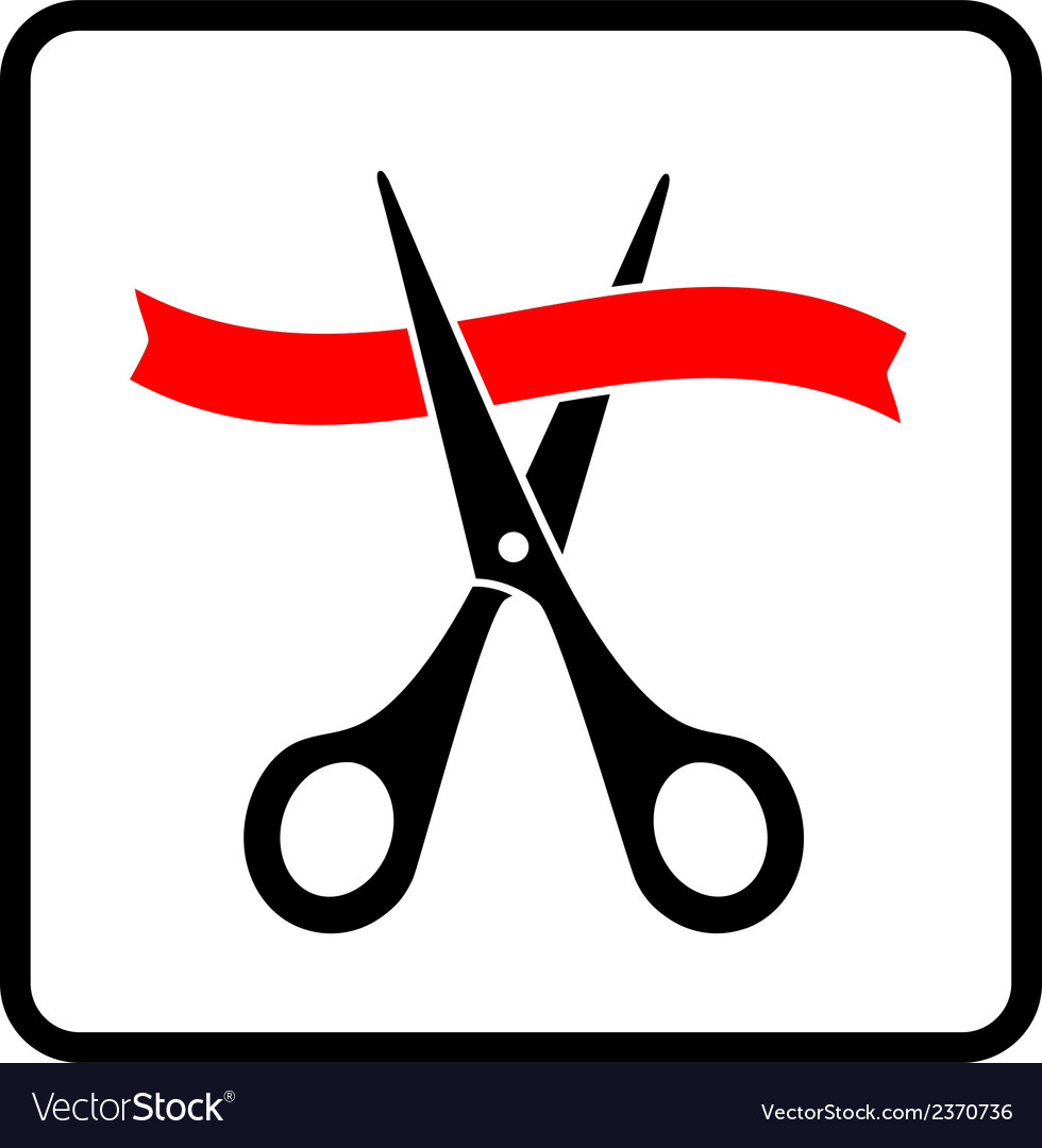 Black scissors cutting red ribbon vector | Price: 1 Credit (USD $1)