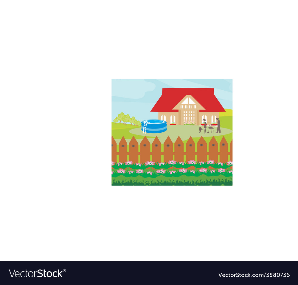 Family having barbecue in the garden vector | Price: 1 Credit (USD $1)