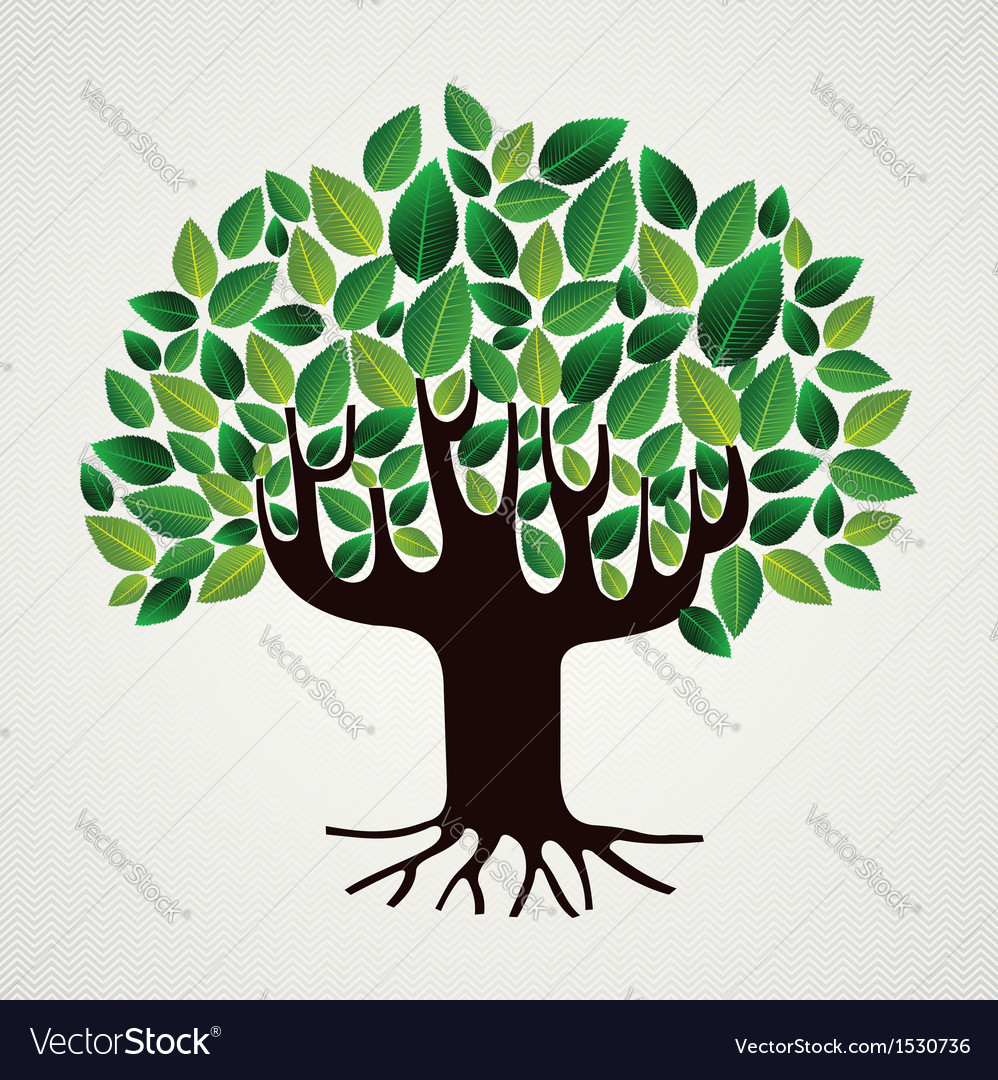 Nature care concept leaves tree vector | Price: 1 Credit (USD $1)