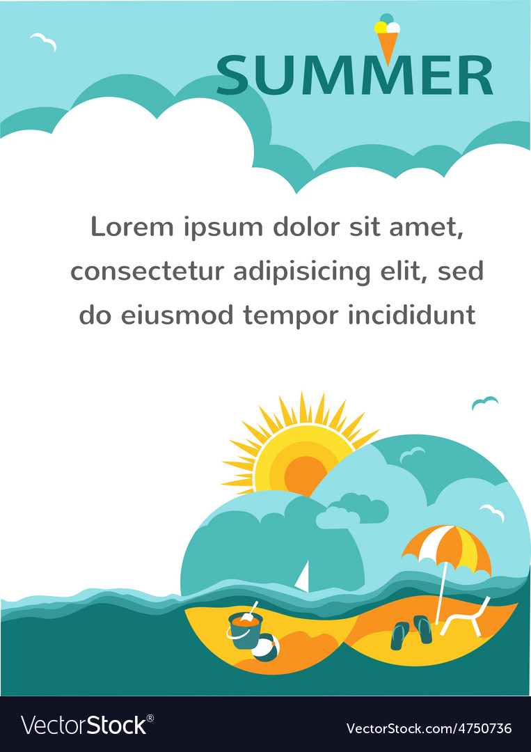 Summer time holiday card vector | Price: 1 Credit (USD $1)