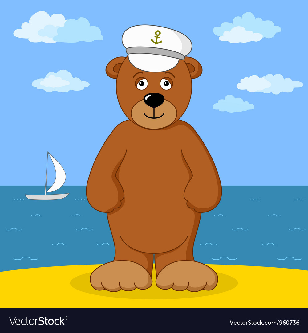 Teddy bear captain on sea coast vector | Price: 1 Credit (USD $1)