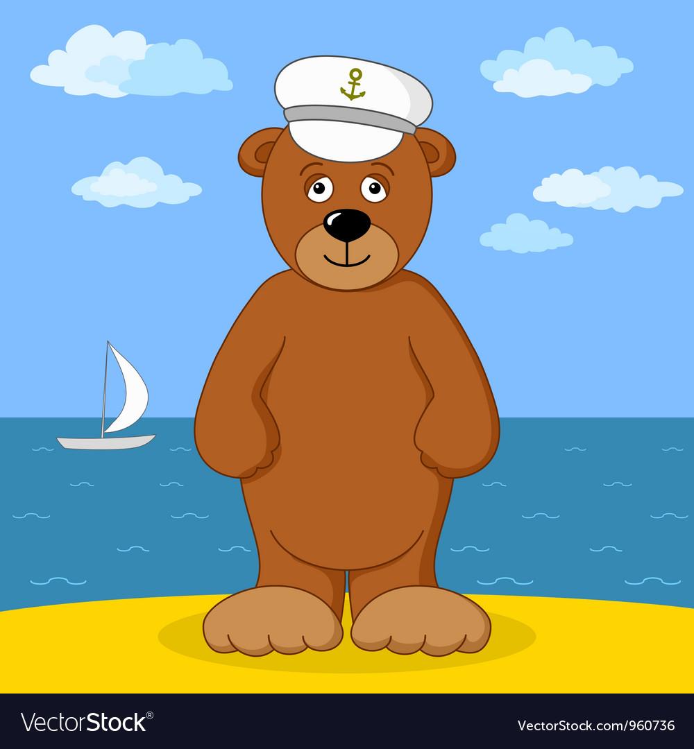 Teddy bear captain on sea coast vector | Price: 1 Credit (USD $1)
