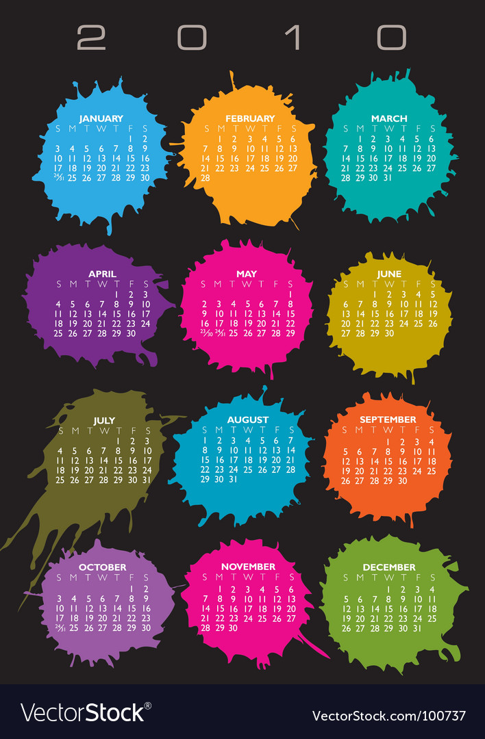 2010 splatter calendar vector | Price: 1 Credit (USD $1)