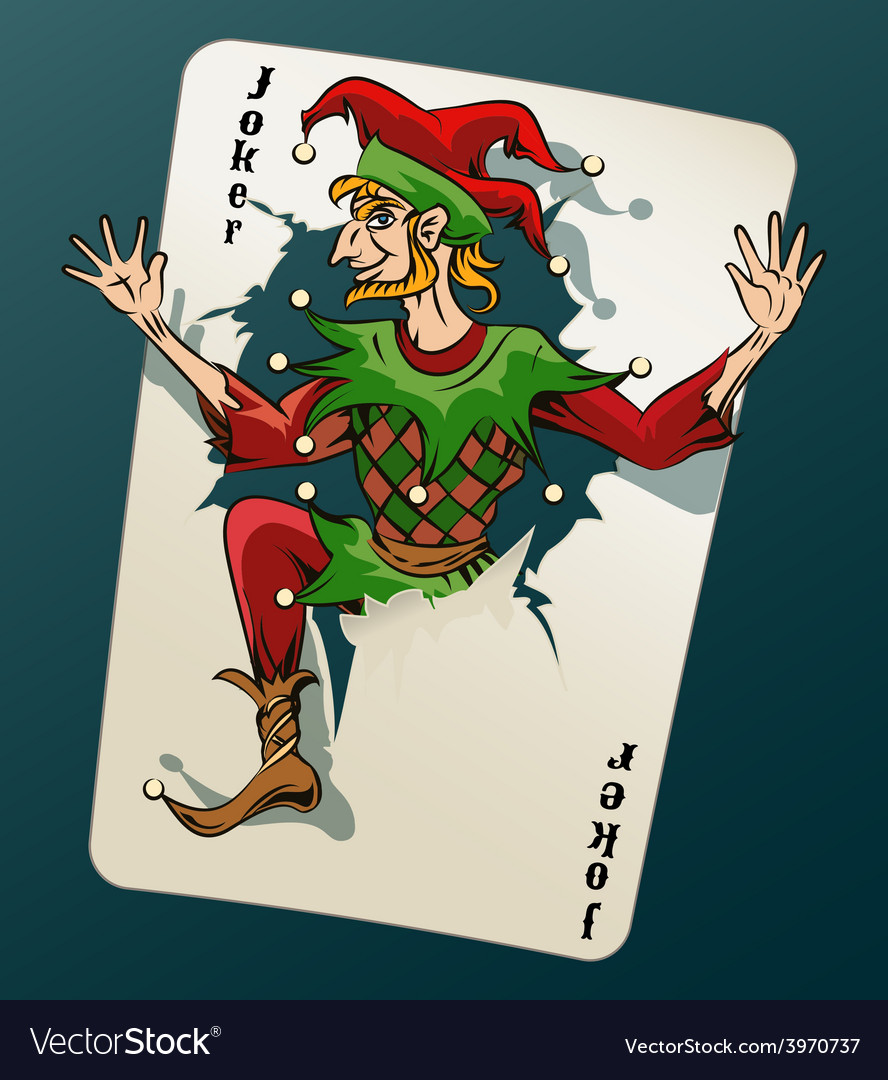Cartooned joker jumping out from playing card vector | Price: 1 Credit (USD $1)