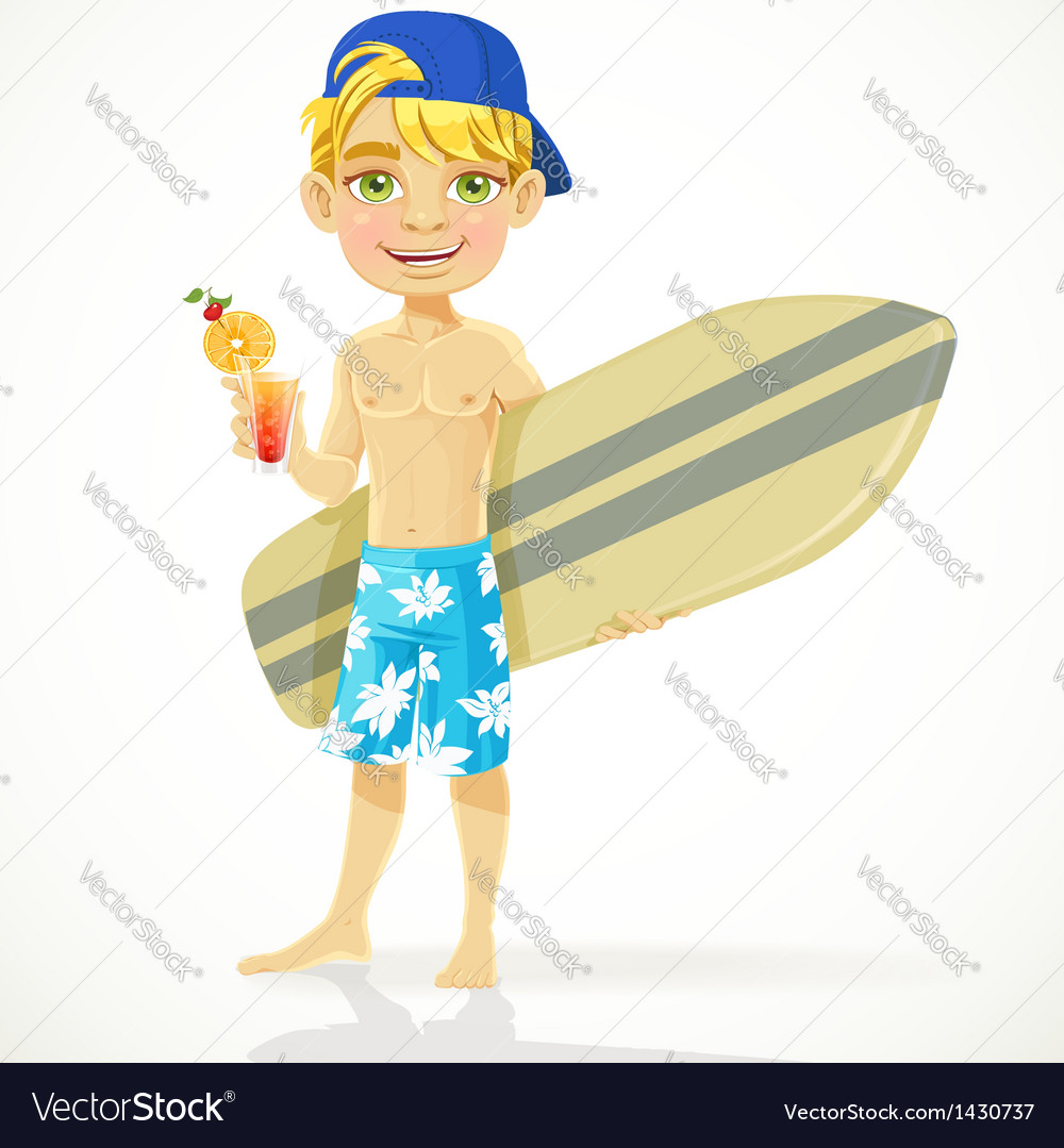 Cute teen boy with a drink and a surfboard vector | Price: 3 Credit (USD $3)