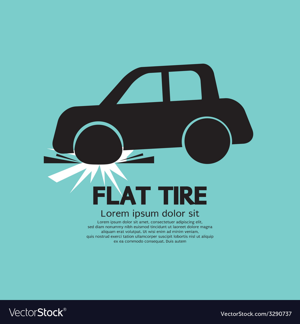 Flat tire car black graphic vector | Price: 1 Credit (USD $1)
