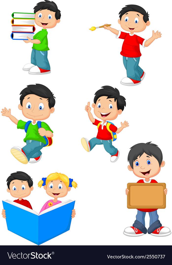 Happy school children cartoon collection set vector | Price: 1 Credit (USD $1)