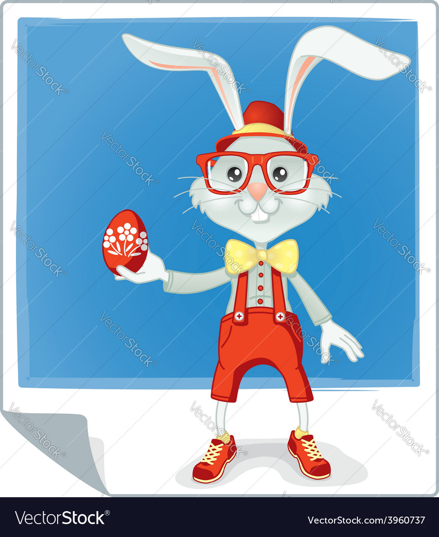 Hipster easter rabbit cartoon vector | Price: 1 Credit (USD $1)