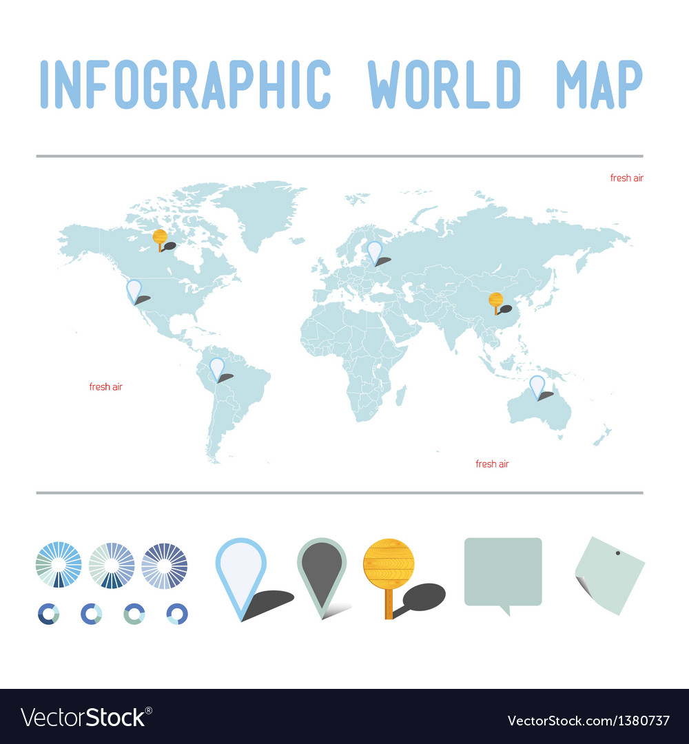 Infographic world map vector | Price: 1 Credit (USD $1)