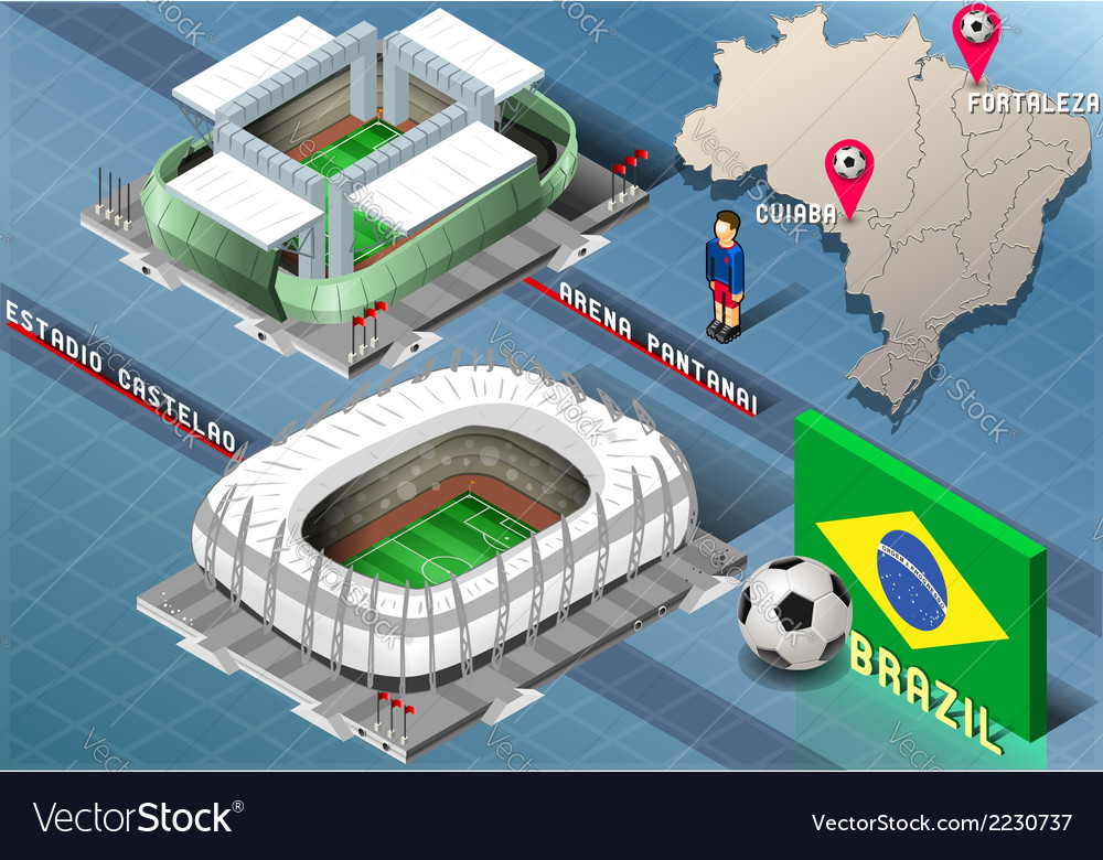 Isometric stadium of cuiaba and fortaleza brazil vector | Price: 1 Credit (USD $1)