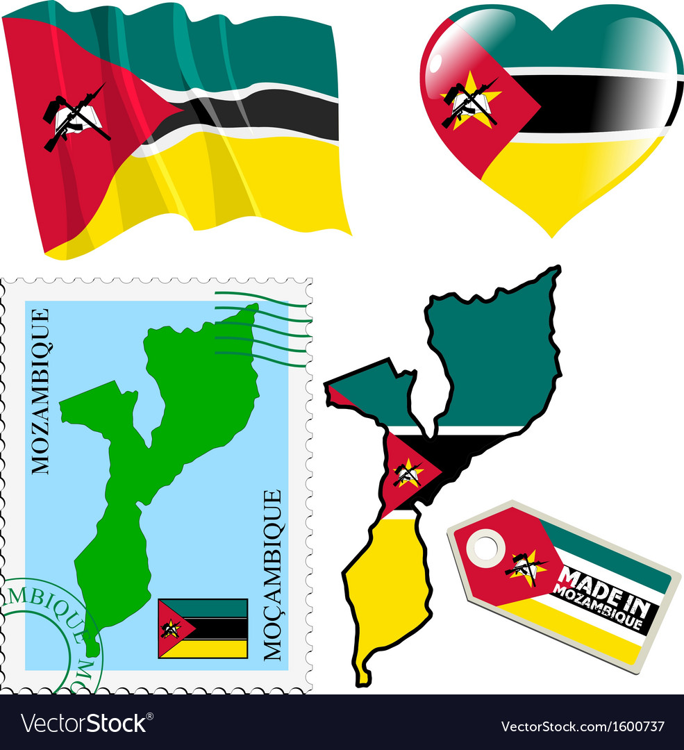 National colours of mozambique vector | Price: 1 Credit (USD $1)
