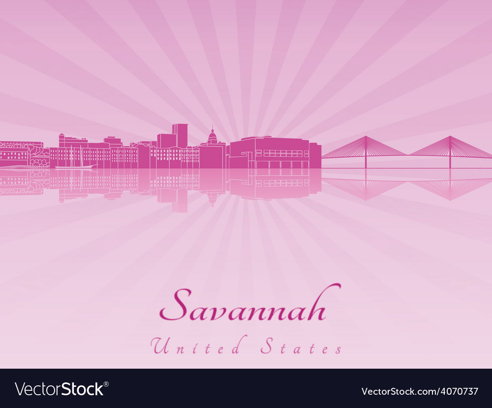 Savannah skyline in purple radiant orchid vector | Price: 1 Credit (USD $1)
