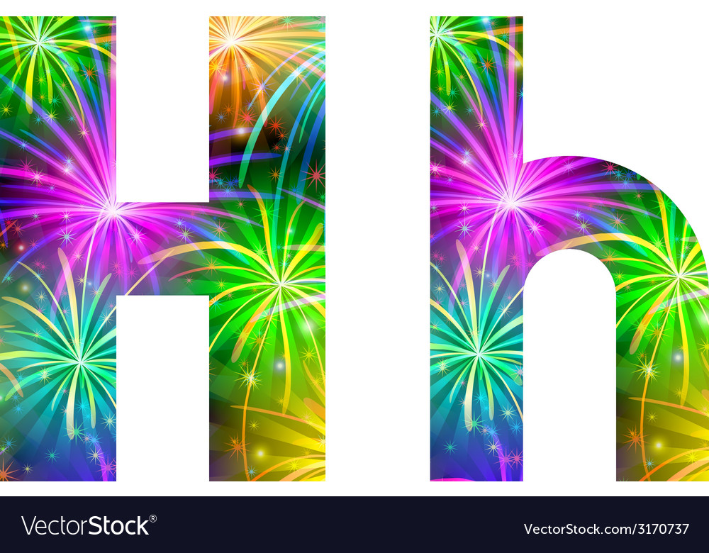 Set of letters firework h vector | Price: 1 Credit (USD $1)