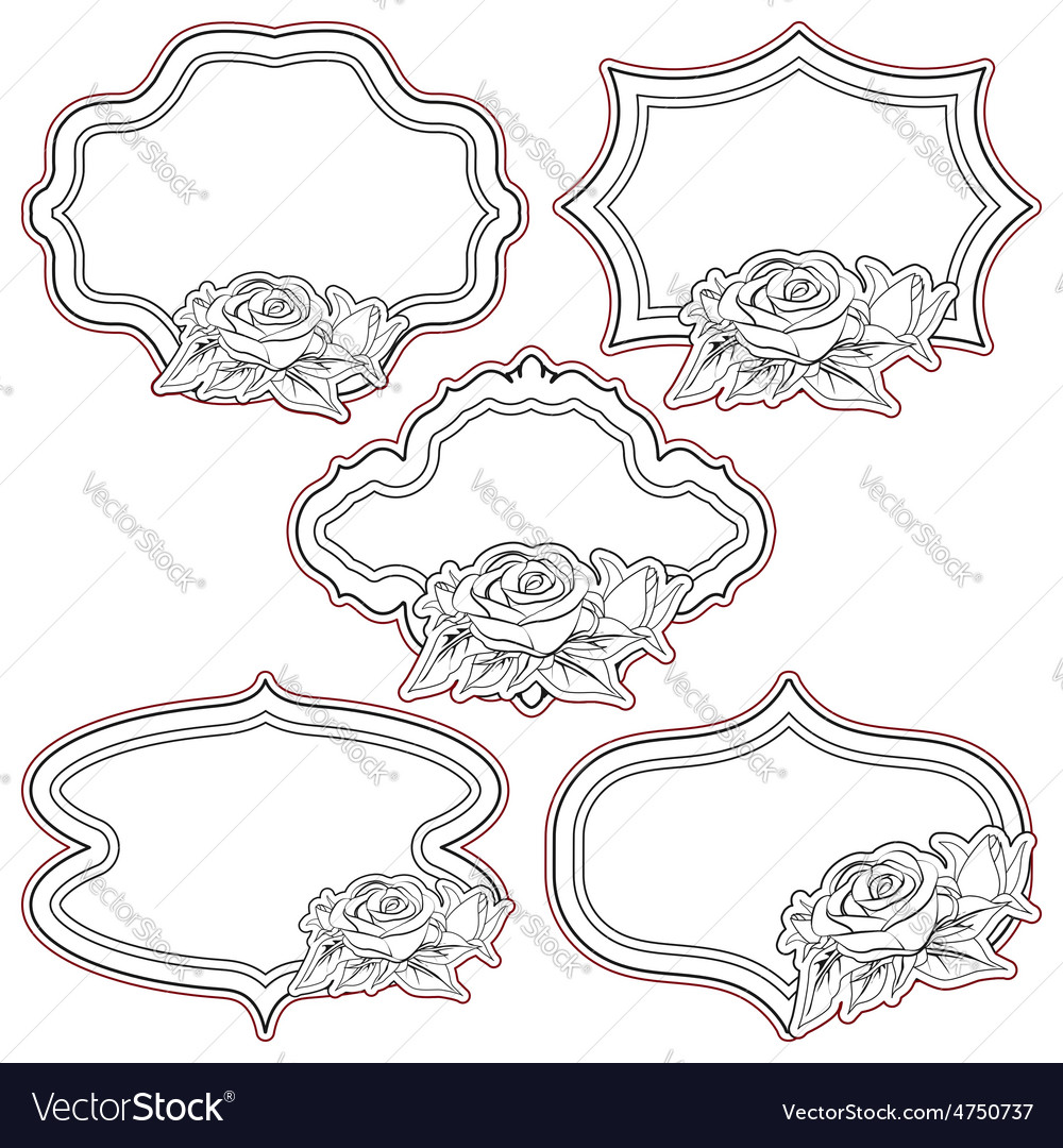 Set of vintage frames with roses isolated on vector   Price: 1 Credit (USD $1)