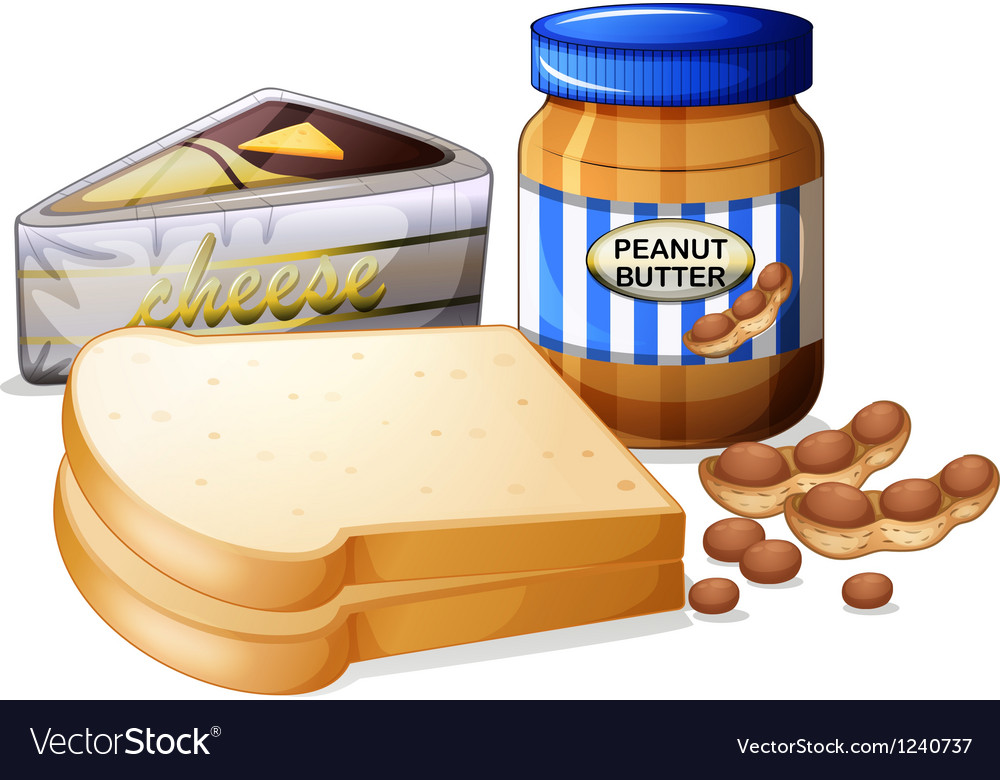 Sliced bread with cheese and butter vector | Price: 1 Credit (USD $1)