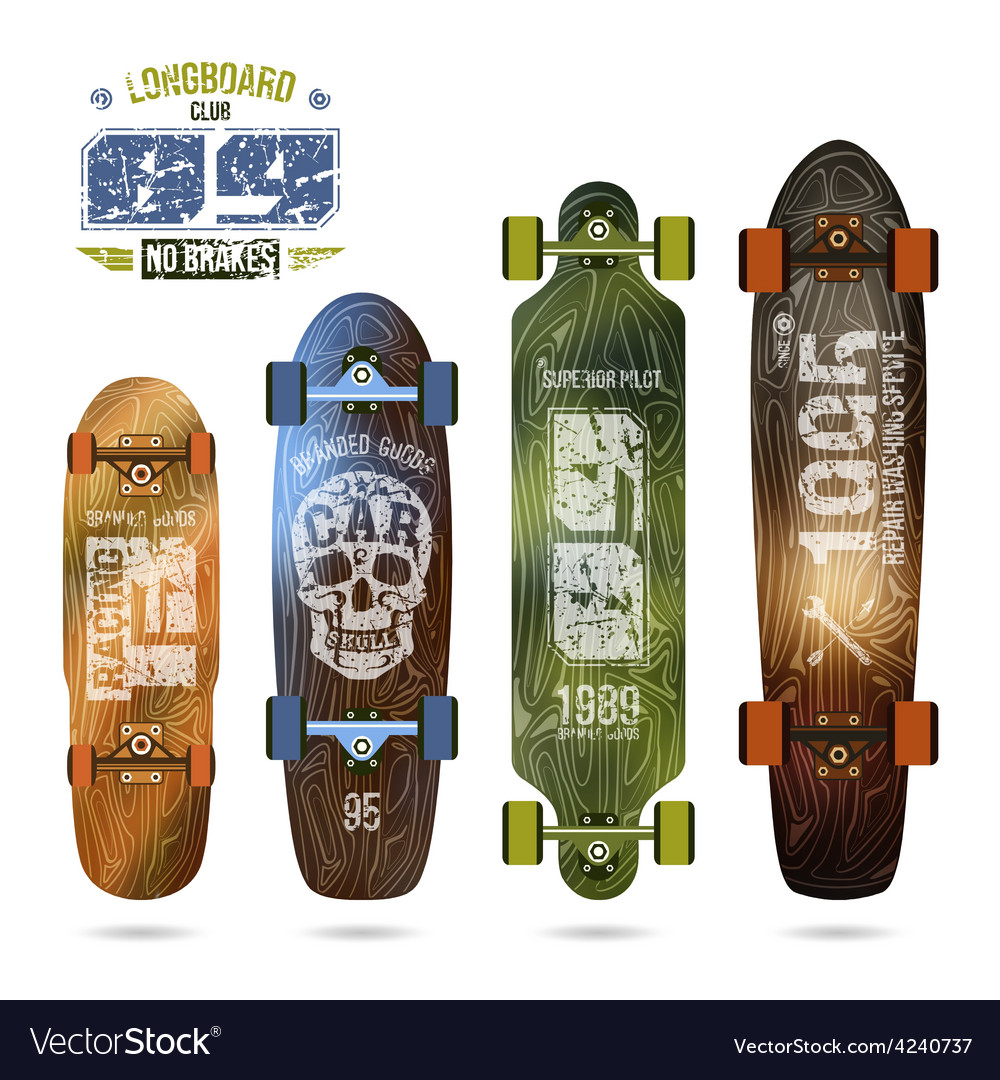 Trendy print on a longboard vector | Price: 1 Credit (USD $1)
