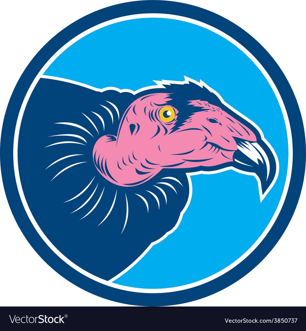 Vulture head circle retro vector | Price: 1 Credit (USD $1)