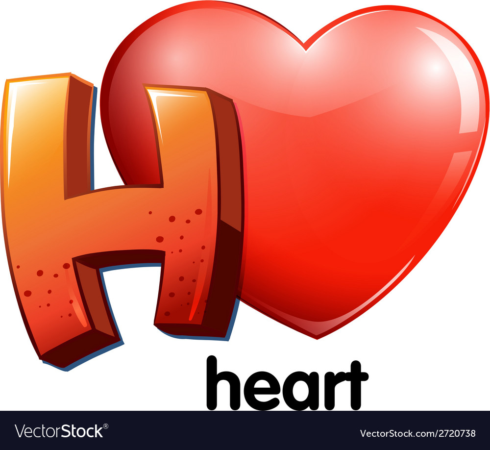 A letter h for heart vector | Price: 1 Credit (USD $1)