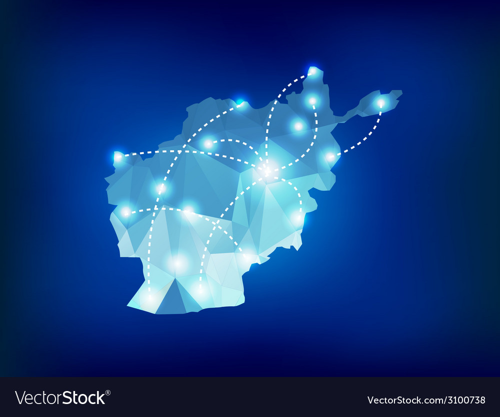 Afghanistan country map polygonal with spot lights vector | Price: 1 Credit (USD $1)