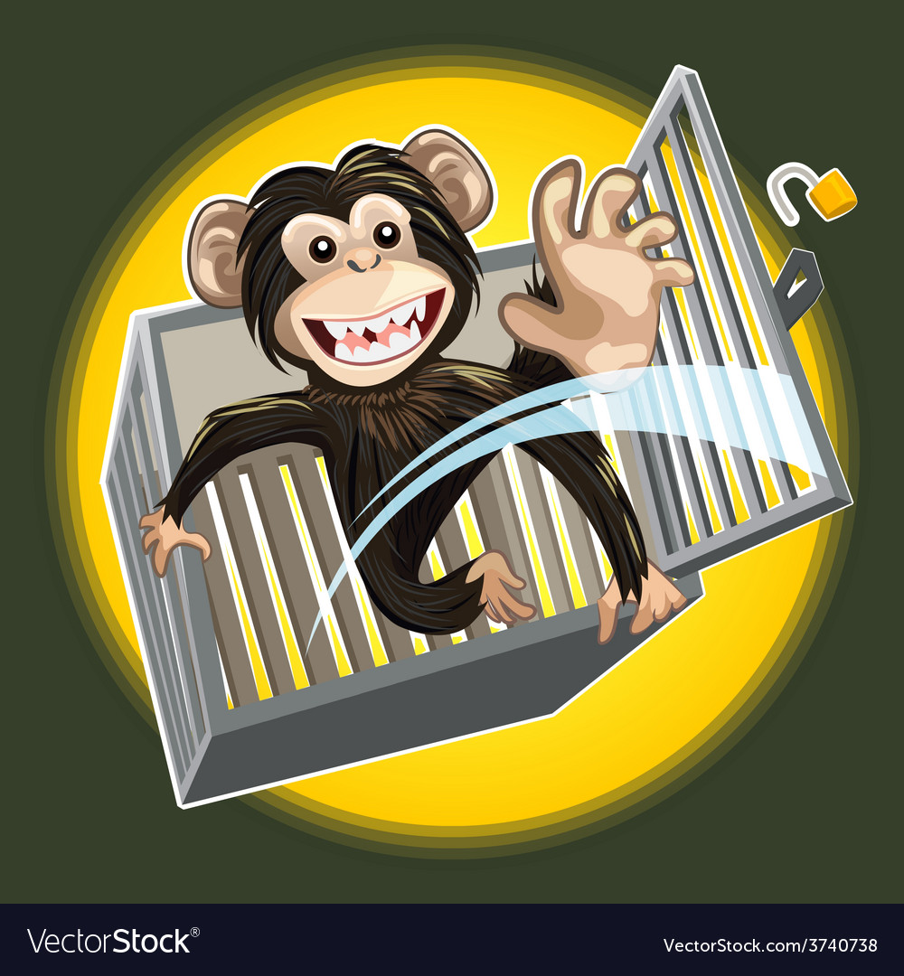 Baby chimpanzee breaking a cage vector | Price: 3 Credit (USD $3)