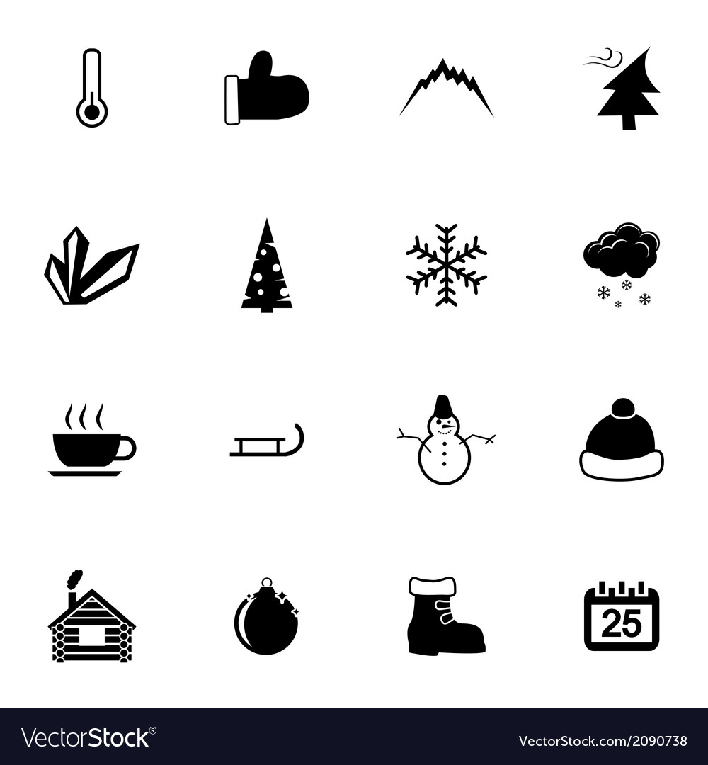 Black winter icons set vector | Price: 1 Credit (USD $1)
