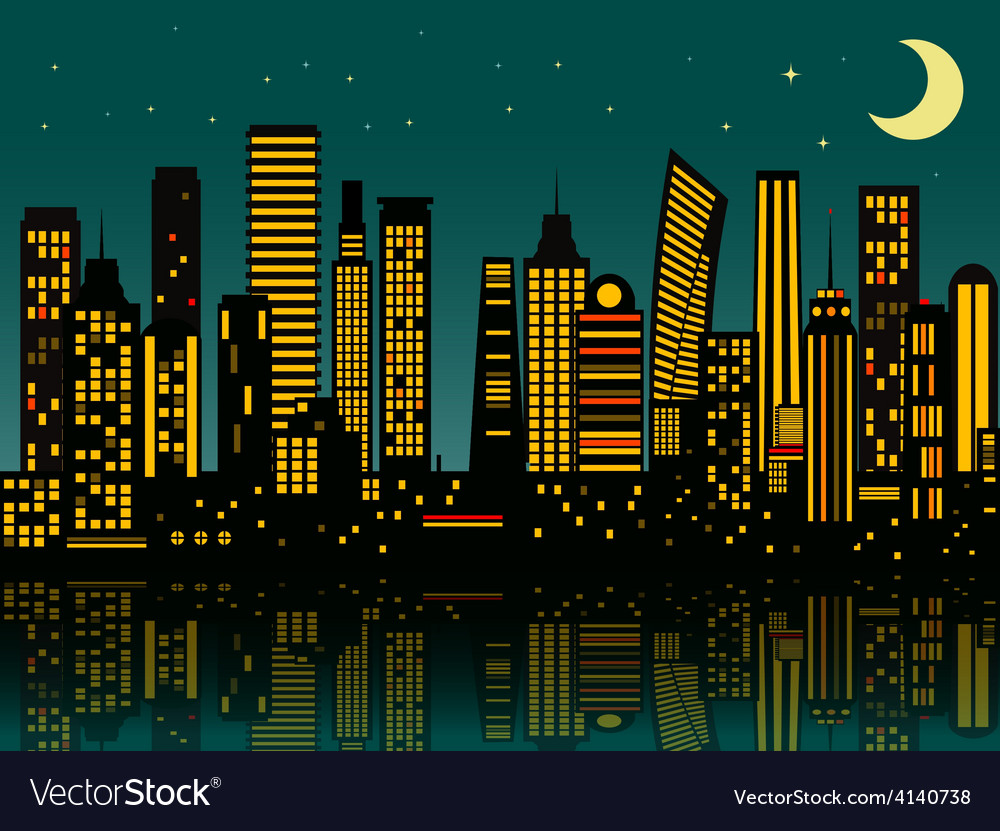 Cartoon night city vector | Price: 1 Credit (USD $1)