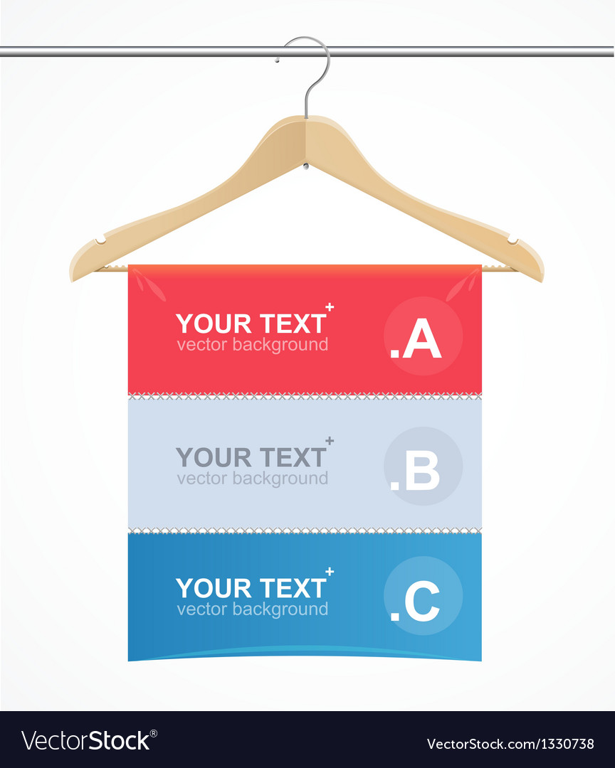Coat hanger wood like text headers vector | Price: 1 Credit (USD $1)