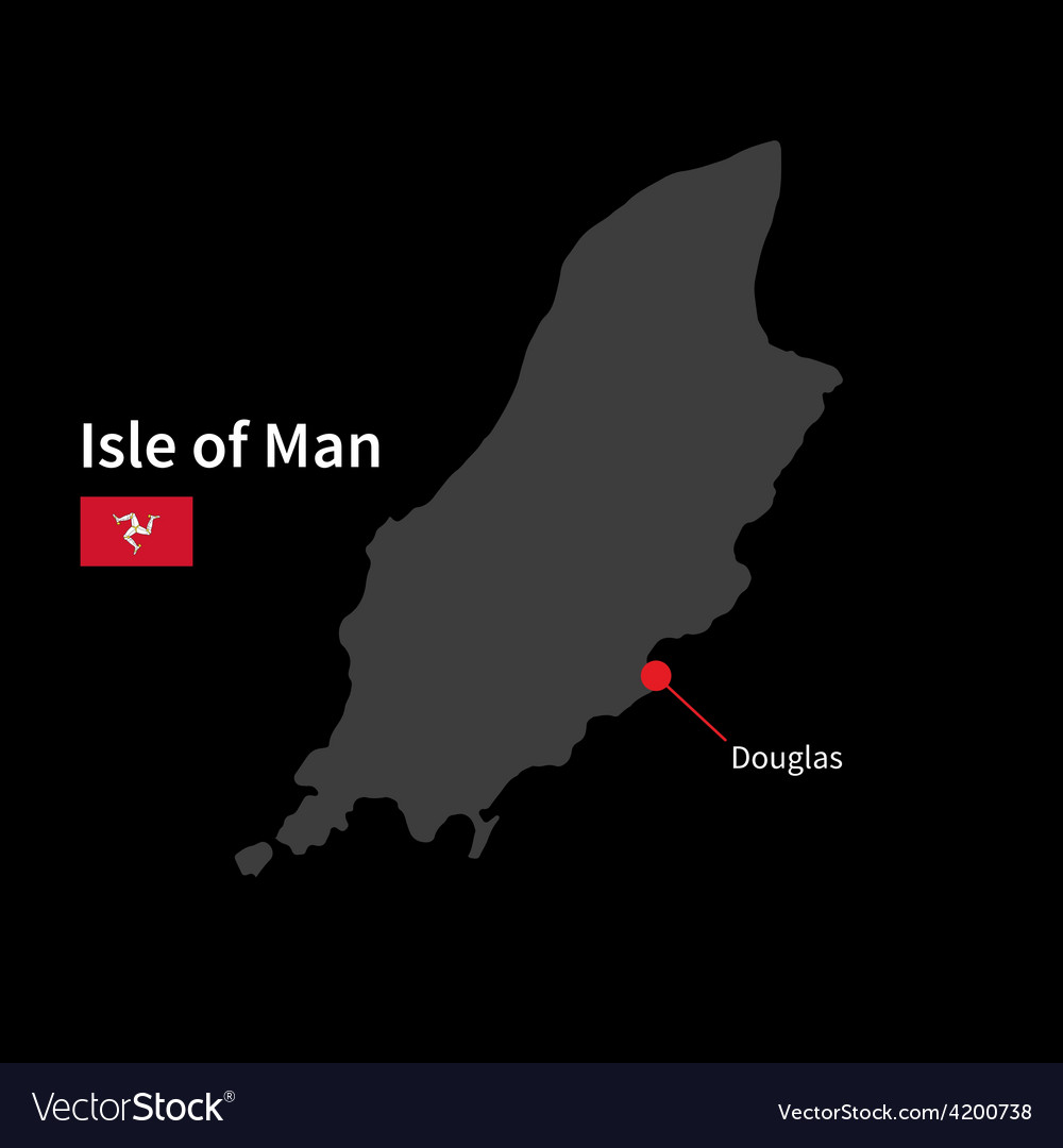 Detailed map of isle of man and capital city vector | Price: 1 Credit (USD $1)
