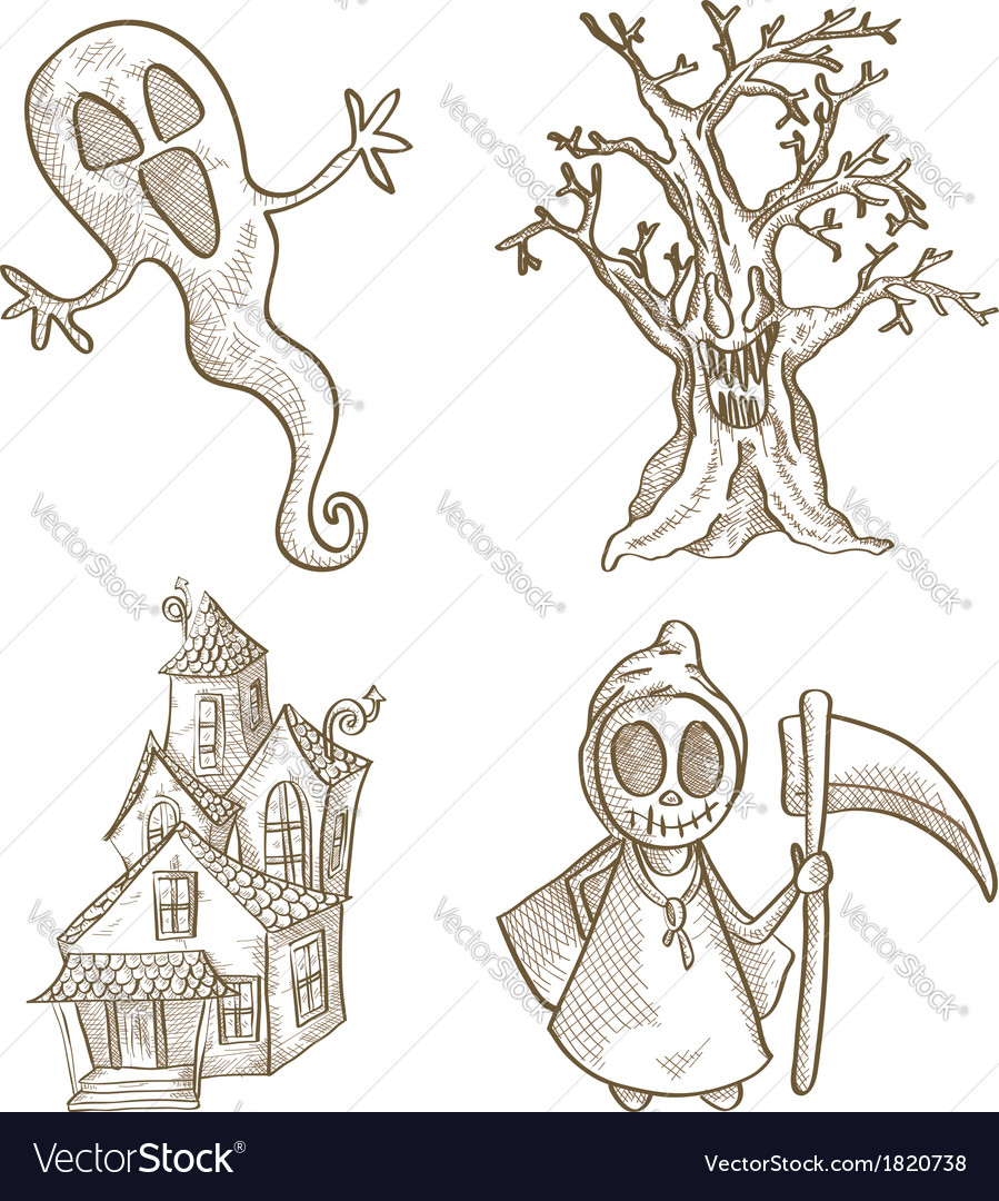 Halloween classics isolated sketch style creatures vector | Price: 1 Credit (USD $1)