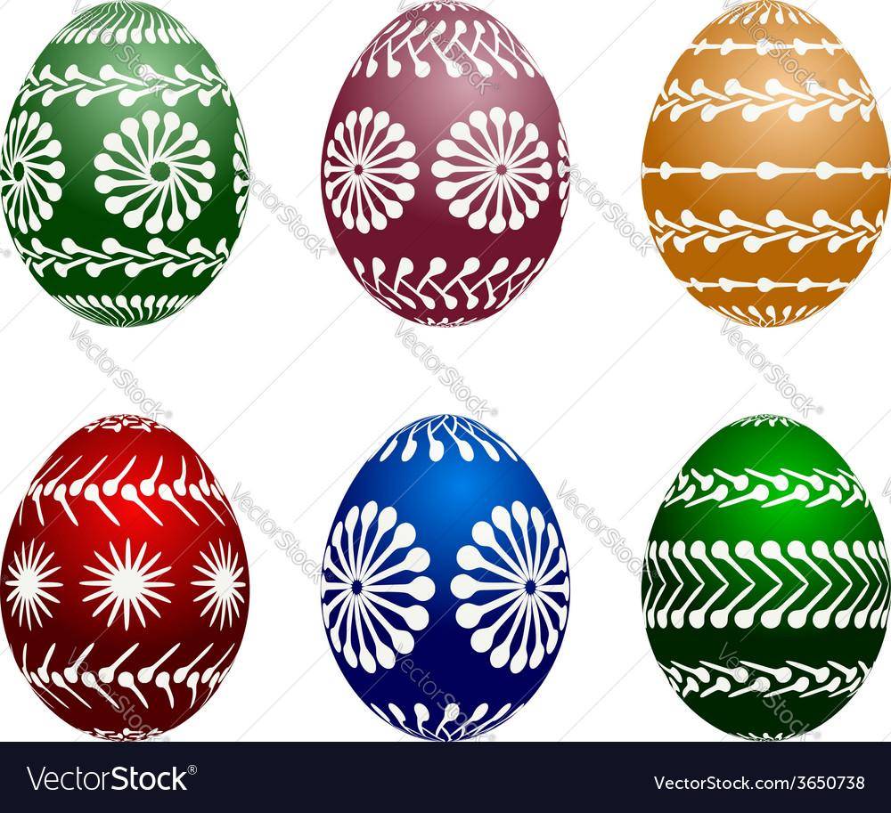 Isolated set of six painted easter eggs vector | Price: 1 Credit (USD $1)