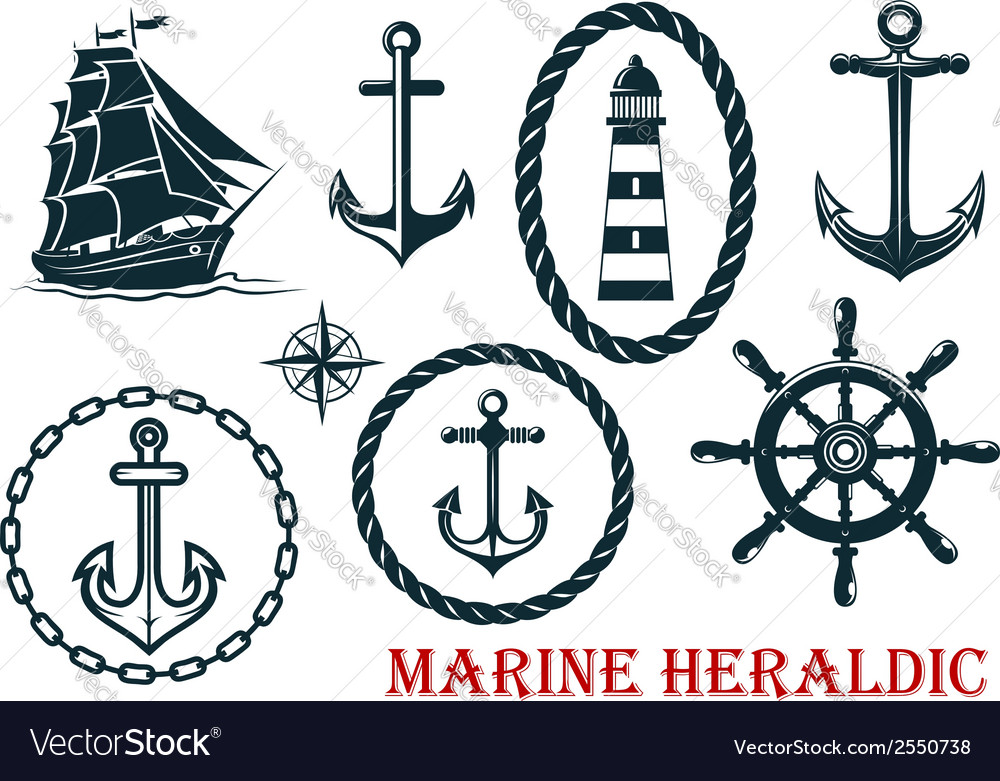 Marine and nautical heraldic elements vector | Price: 1 Credit (USD $1)