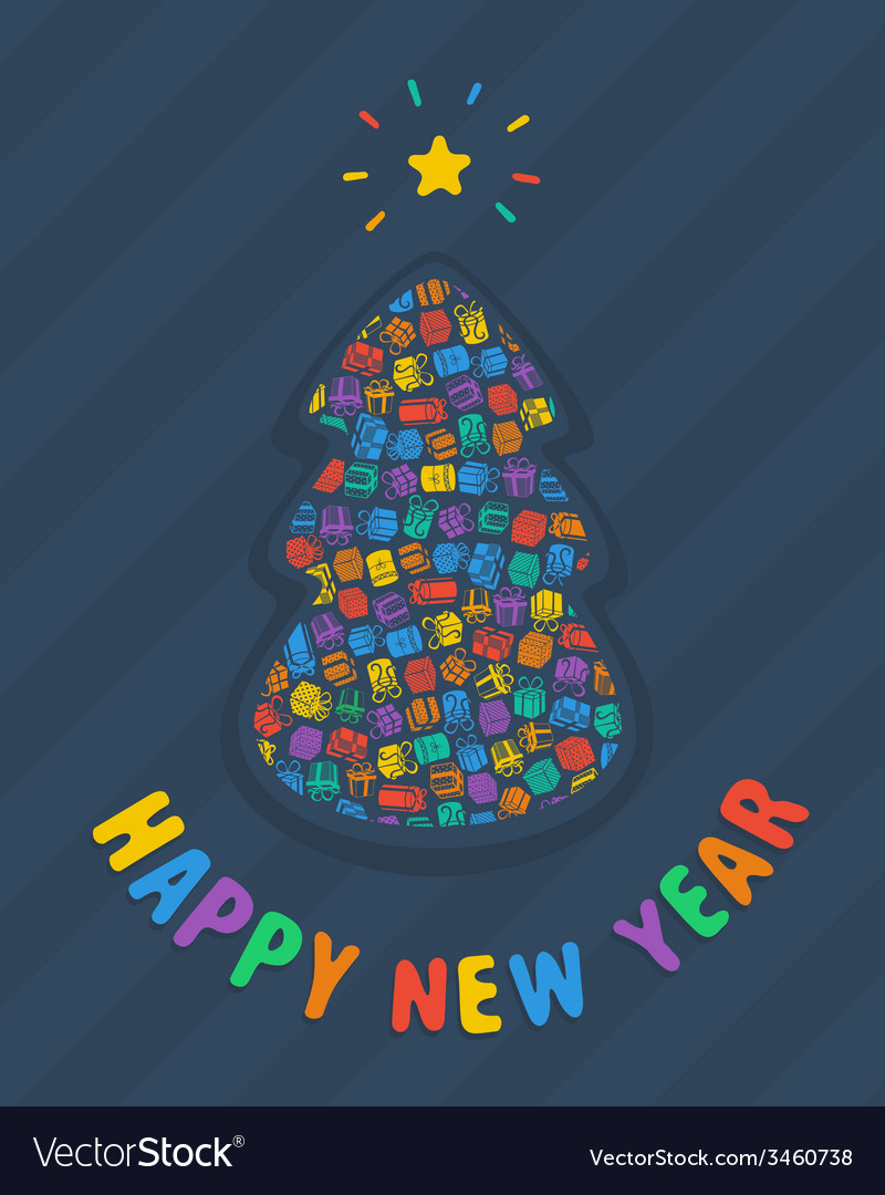New year tree card vector | Price: 1 Credit (USD $1)