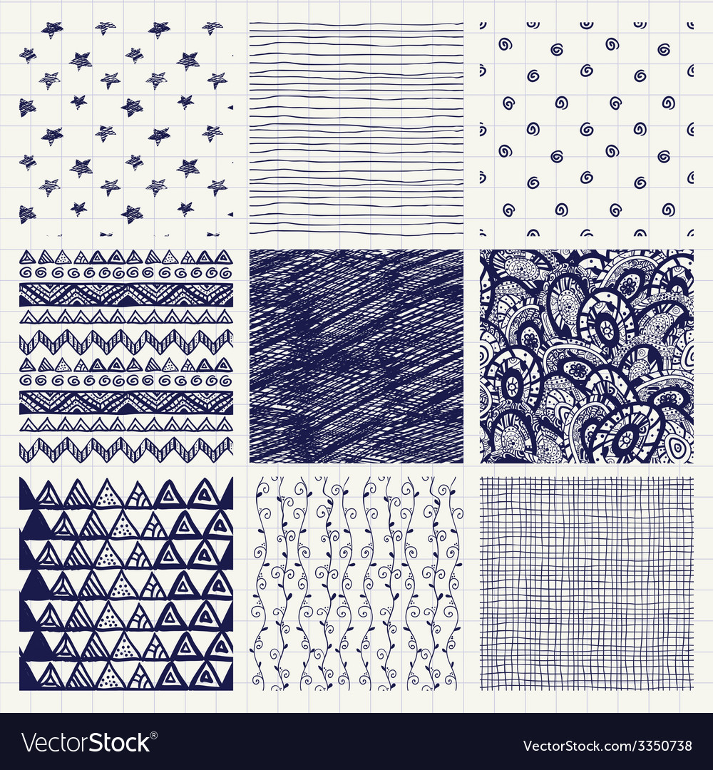 Pen drawing seamless textures vector   Price: 1 Credit (USD $1)