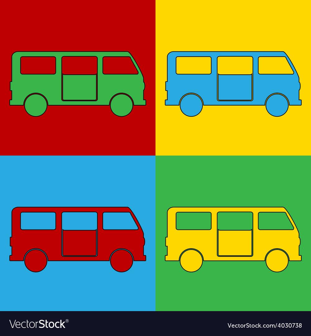 Pop art minibus icons vector | Price: 1 Credit (USD $1)