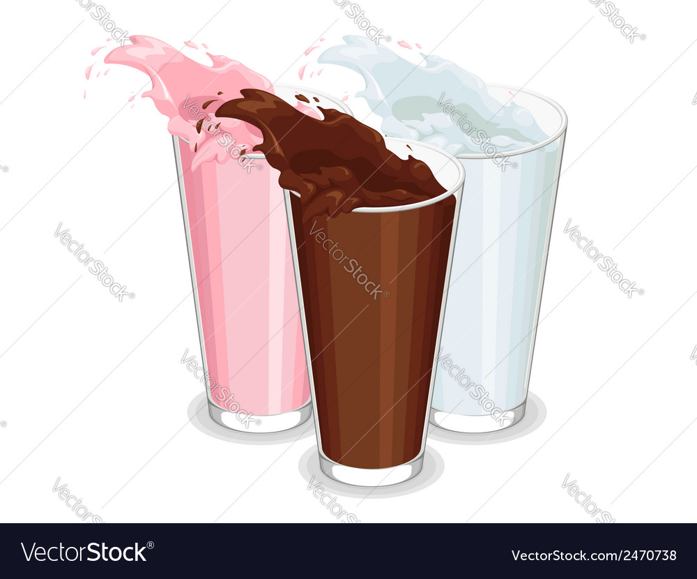 Spilled glass of white chocolate and strawberry vector | Price: 1 Credit (USD $1)