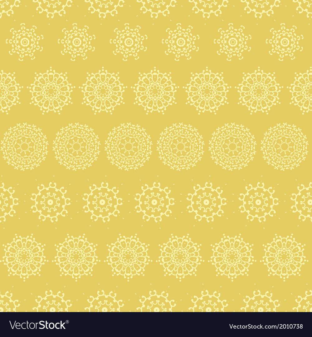 Yellow mustard abstract mandalas striped seamless vector | Price: 1 Credit (USD $1)